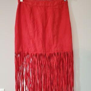 H&M Coachella Fire Red Fringe Maxi Skirt